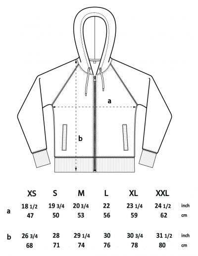 Unisex zip-up hoodie sizes