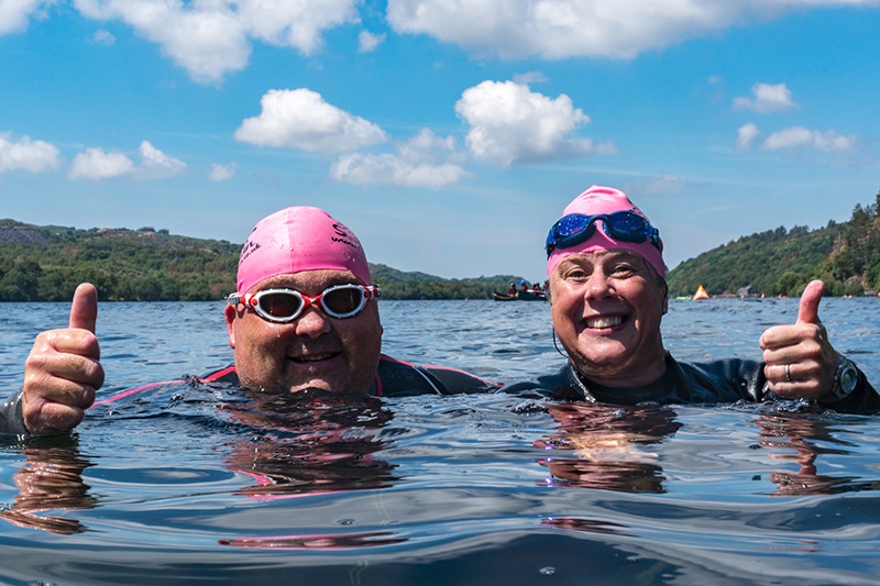 Positive happy swimmers